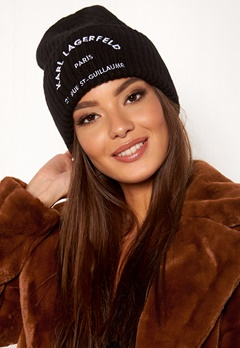 Karl Lagerfeld Rue St Guillaume Beanie Black/Nickel Bubbleroom.no