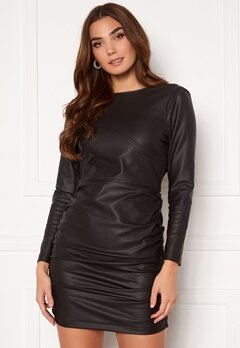 KENDALL + KYLIE K&K W Open Back Vegan Leather Dress Black Bubbleroom.no