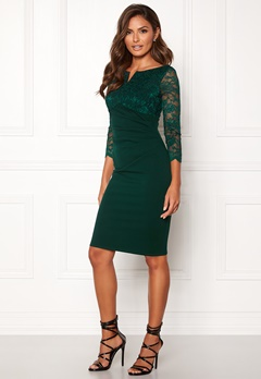 Goddiva Lace Top Midi Dress Emerald Bubbleroom.no