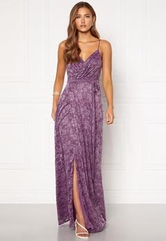 Goddiva Lace Wrap Maxi Dress Dusty Lavender Bubbleroom.no