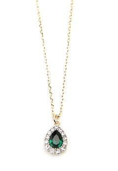 LILY AND ROSE Amelie Necklace Emerald Bubbleroom.no