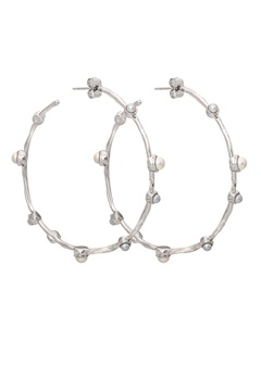 LILY AND ROSE Jagger Hoops Earrings Ivory Silver Bubbleroom.no