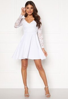 Goddiva Long Sleeve Skater Dress White Bubbleroom.no