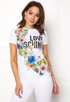 Love Moschino T-shirt Love Flower A00 White Bubbleroom.no