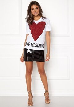 Love Moschino T-shirt Love Heart A00 White Bubbleroom.no