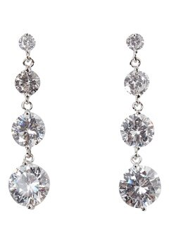 Love Rocks CZ Drop Earrings Silver Bubbleroom.no