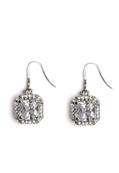 Love Rocks Square Glass Earring Silver Bubbleroom.no