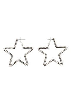 Love Rocks Star Cut Out Earrings Silver Bubbleroom.no