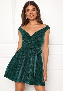 Goddiva Lurex Skater Dress Emerald bubbleroom.no