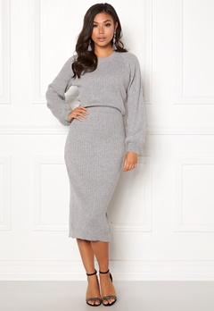Make Way Amira knitted dress Grey melange Bubbleroom.no