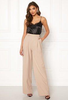 Make Way Bea wide trousers Beige Bubbleroom.no
