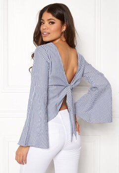 Make Way Macie blouse White / Blue / Striped Bubbleroom.no