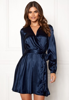 Make Way Ophelia wrapped dress Dark blue Bubbleroom.no