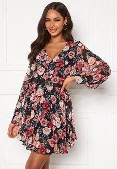 Girl In Mind Maya Cuffed Sleeve Mini Dress Black/Pink Floral Bubbleroom.no