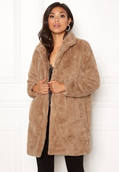 OBJECT Mia Faux Fur Coat Oatmeal Bubbleroom.no