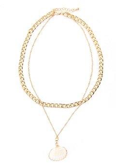 Pieces Millie Combi Necklace Gold Colour Bubbleroom.no