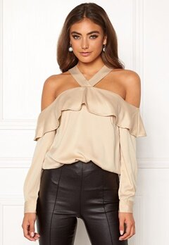 Moa Mattsson X Bubbleroom Buttoned off shoulder blouse Champagne Bubbleroom.no