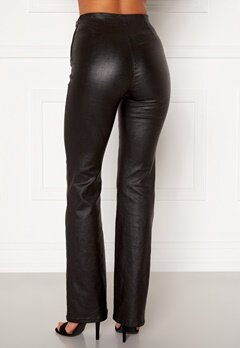 Moa Mattsson X Bubbleroom Coated flared trousers Black Bubbleroom.no