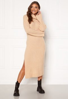 Moa Mattsson X Bubbleroom Knitted high slit midi dress Beige Bubbleroom.no