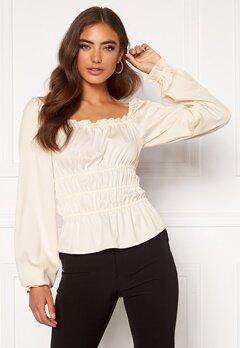 Moa Mattsson X Bubbleroom Waist smock blouse Offwhite Bubbleroom.no