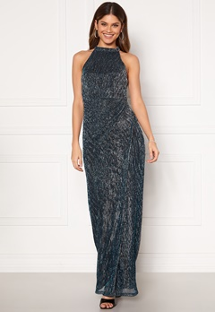 Moments New York Alice Lurex Gown Blue Bubbleroom.no
