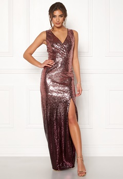 Moments New York Alicia Sequin Gown Dark red Bubbleroom.no