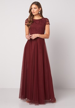 Moments New York Anna Mesh Gown Wine-red Bubbleroom.no