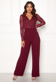 Moments New York Azalea Lace jumpsuit  Wine-red Bubbleroom.no