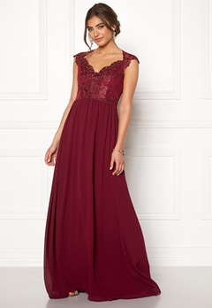 Moments New York Blossom Chiffon Gown Wine-red Bubbleroom.no