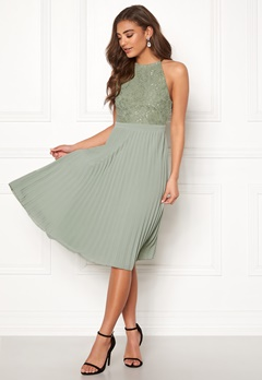 Moments New York Casia Pleated Dress Dark green Bubbleroom.no