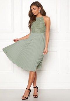 Moments New York Casia Pleated Dress Dusty green Bubbleroom.no