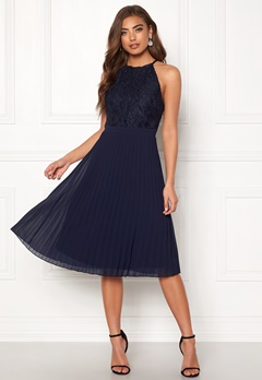 Moments New York Casia Pleated Dress Navy Bubbleroom.no