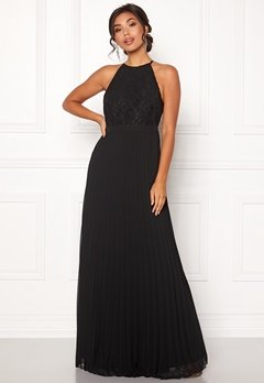Moments New York Casia Pleated Gown Black Bubbleroom.no