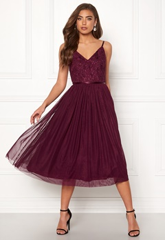Moments New York Daphne Mesh Dress Wine-red Bubbleroom.no
