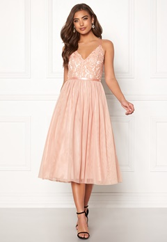Moments New York Daphne Mesh Dress Dusty pink Bubbleroom.no