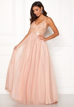 Moments New York Daphne Mesh Gown Dusty pink Bubbleroom.no
