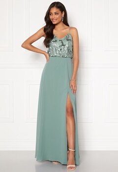 Moments New York Elouise Sequin gown Dusty green Bubbleroom.no