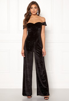 Moments New York Inda Velvet Jumpsuit Black Bubbleroom.no
