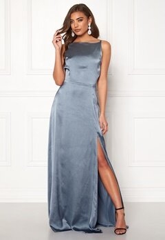 Moments New York Laylani Satin Gown Dusty blue Bubbleroom.no