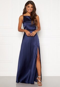 Moments New York Laylani Satin Gown Navy Bubbleroom.no