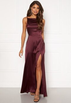 Moments New York Laylani Satin Gown Wine-red Bubbleroom.no