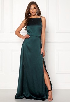Moments New York Laylani Satin Gown Dark green Bubbleroom.no