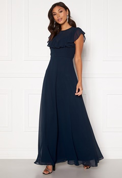Moments New York Lea Frill Gown Navy Bubbleroom.no