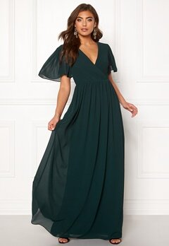Moments New York Liana Chiffon Gown Dark green Bubbleroom.no