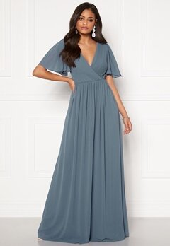 Moments New York Liana Chiffon Gown Grey-blue Bubbleroom.no