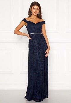 Moments New York Melina Lace Gown Navy Bubbleroom.no