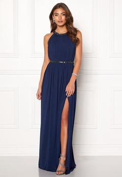 Moments New York Rose Draped Gown Dark blue Bubbleroom.no