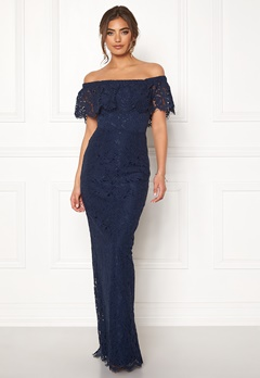 Moments New York Rose Lace Gown Dark blue Bubbleroom.no