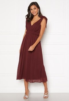Moments New York Theodora Dotted Dress Wine-red Bubbleroom.no
