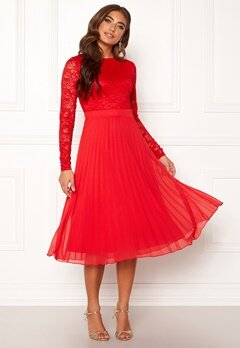 Moments New York Zaria Pleated Dress Red Bubbleroom.no
